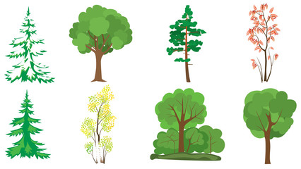 set of 8 trees