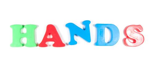 hands written in fridge magnets