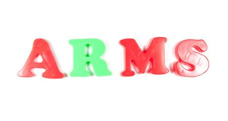 arms written in fridge magnets