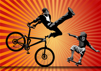 Skateboarding and bicyclist