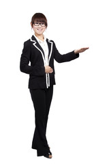 young smiling businesswoman with hand Introduction something