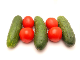 Cucumbers and tomsto