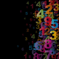 Numbers on black background