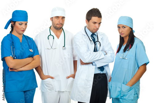 Disappointed team of doctors