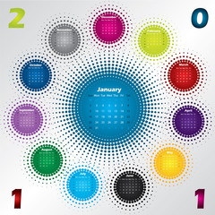 Colorful halftone calendar for year 2011