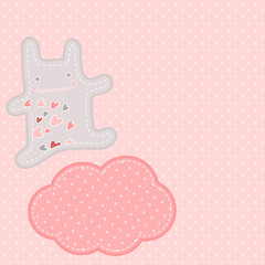 pretty background with funny bunny in love