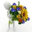 3d man with  flowers
