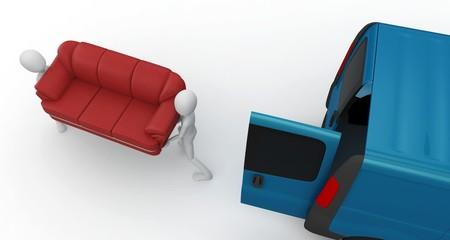 3d man moving furniture