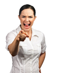 Angry business woman pointing her finger and screaming