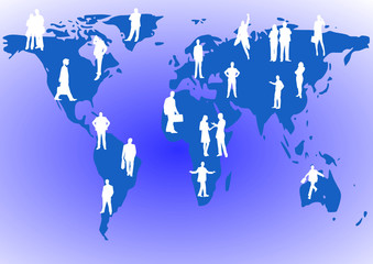 business people standing on a world map background