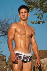 Male model on the rocks
