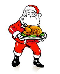 Weihnachtsmann mit Putenbraten