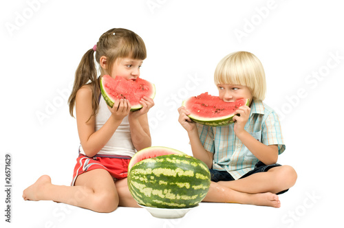 children with watermelon Poster