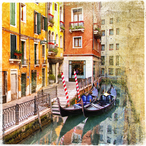 channels of Venice - retro styled picture - 26573065