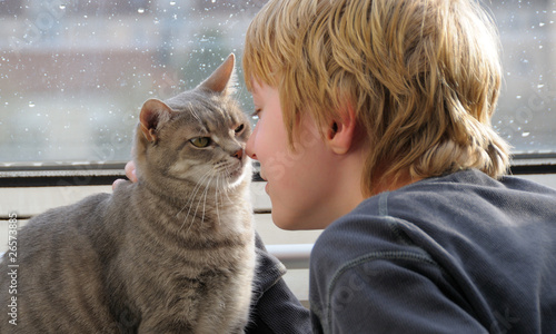 Boy and his beloved cat