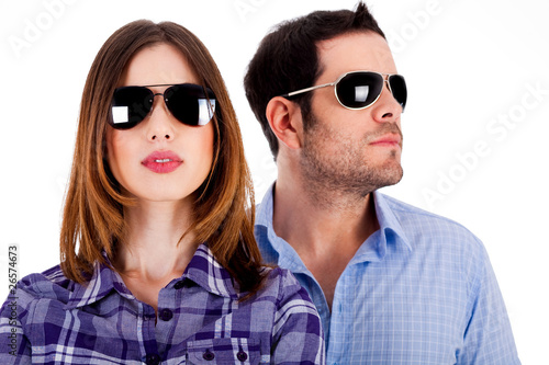 stylish couple wearing sunglasses