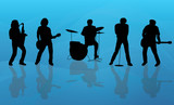 Band Silhouette Blue Background
