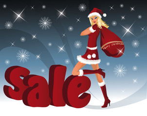 Christmas sale card with Santa-girl.  vector illustration