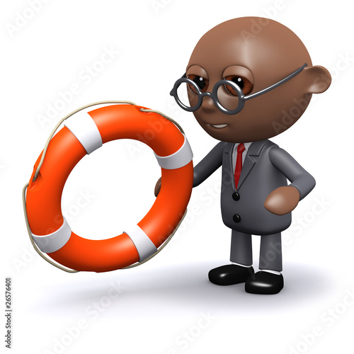 3d Black businessman throws a life ring