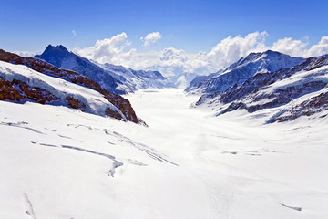 Landscape of Great Aletsch Glacier Jungfrau Switzerland