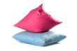 pink and blue pillows