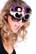 brünette beauty Frau mit drei Brillen