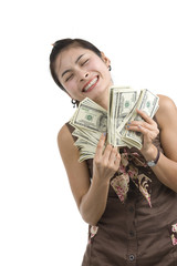 pretty woman happy with lots of money