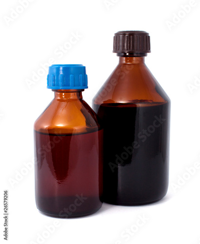 Two Brown Medical Glass