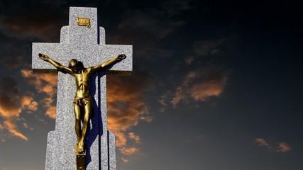 Cruz con Jesus al atardecer, religion
