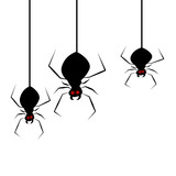 Three scary spiders with red eyes hanging