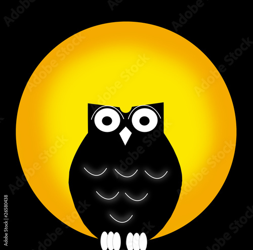 Beautiful owl in front of full yellow moon