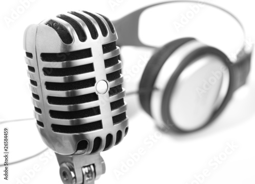 microphone and headphones vintage
