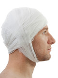 Bandage on wound head poster