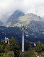 Cable cars on a ski resort during summer