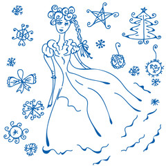 Winter doodle with christmas design elements