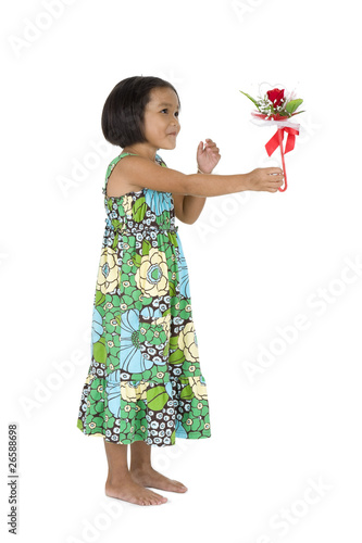 cute girl with flower gift