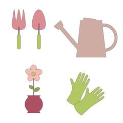Garden elements. Vector illustration