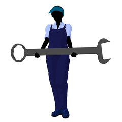 African American Female Mechanic Silhouette