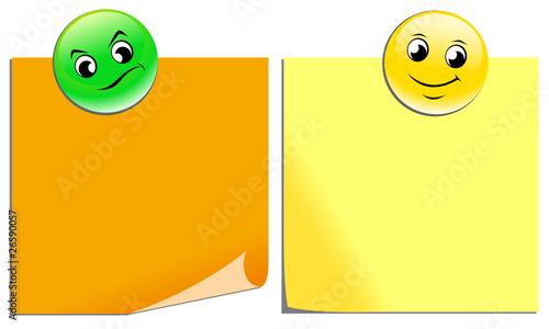 Due post-it con calamite emoticon