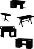 tables collection silhouettes - vector
