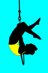 Acrobat of contemporary circus without animals