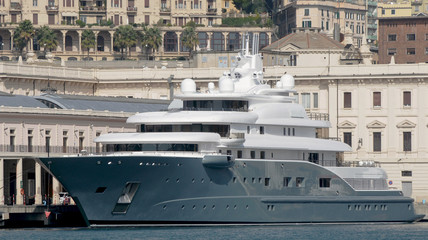 large grey yacht
