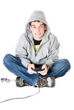 Young man in hood with a joystick poster