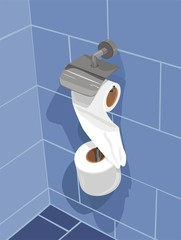 Set of toilet paper on a wall of bathroom. Vector