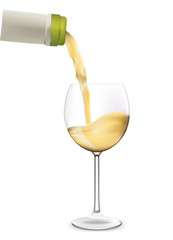 White wine pouring into wine glass. Vector illustration.