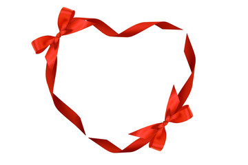 Heart from red ribbons and bows