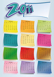 Colorful calendar 2011 on blue
