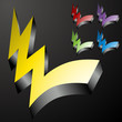 Three Dimensional Checkmark Lightning Bolts