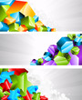 Set of banners with 3d element. Vector illustration