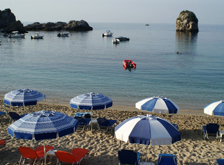 Sunbeds on Parga Beach, Epirus, Greece